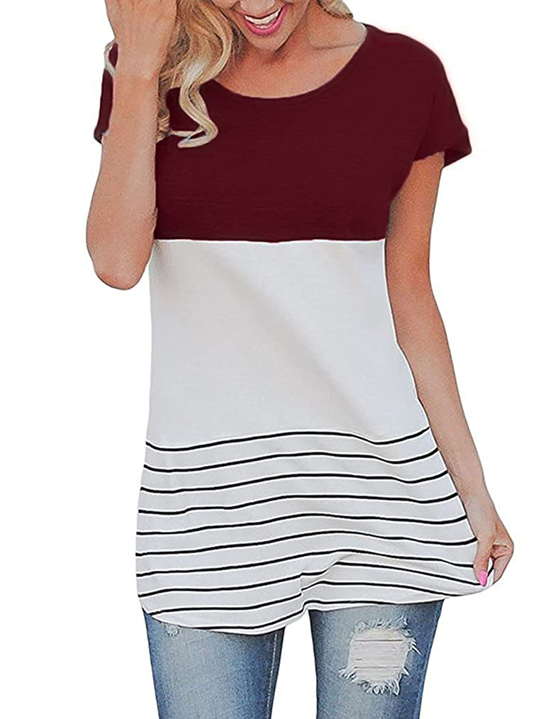 Wine Red Shepink Women's Long Sleeve color Block Shirts Tunics Tops with Potcket