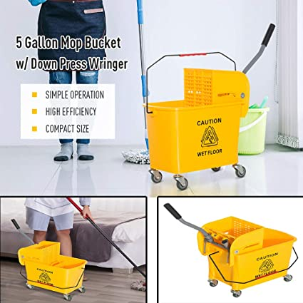 Alpine Industries Yellow 9 Gallon Side Wringer Press Mop Bucket