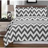 Gray and White Chevron 3-piece King / Cal-king Comforter Cover (Duvet-Cover-Set) 100 % Egyptian Cotton 300 TC