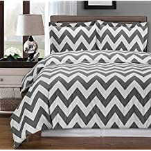 Gray and White Chevron 3-piece Full / Queen Duvet-Cover-Set, 100 % Egyptian Cotton 300 TC