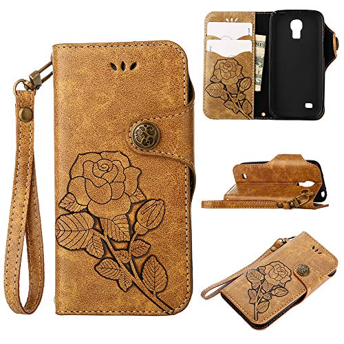 I9190 Case,IVY Galaxy S4 Mini Wallet Phone Case [Rose Retro Style][Kickstand & Wrist Strap] Leather Case Flip Cover for Samsung Galaxy S4 Mini I9190 - Khaki
