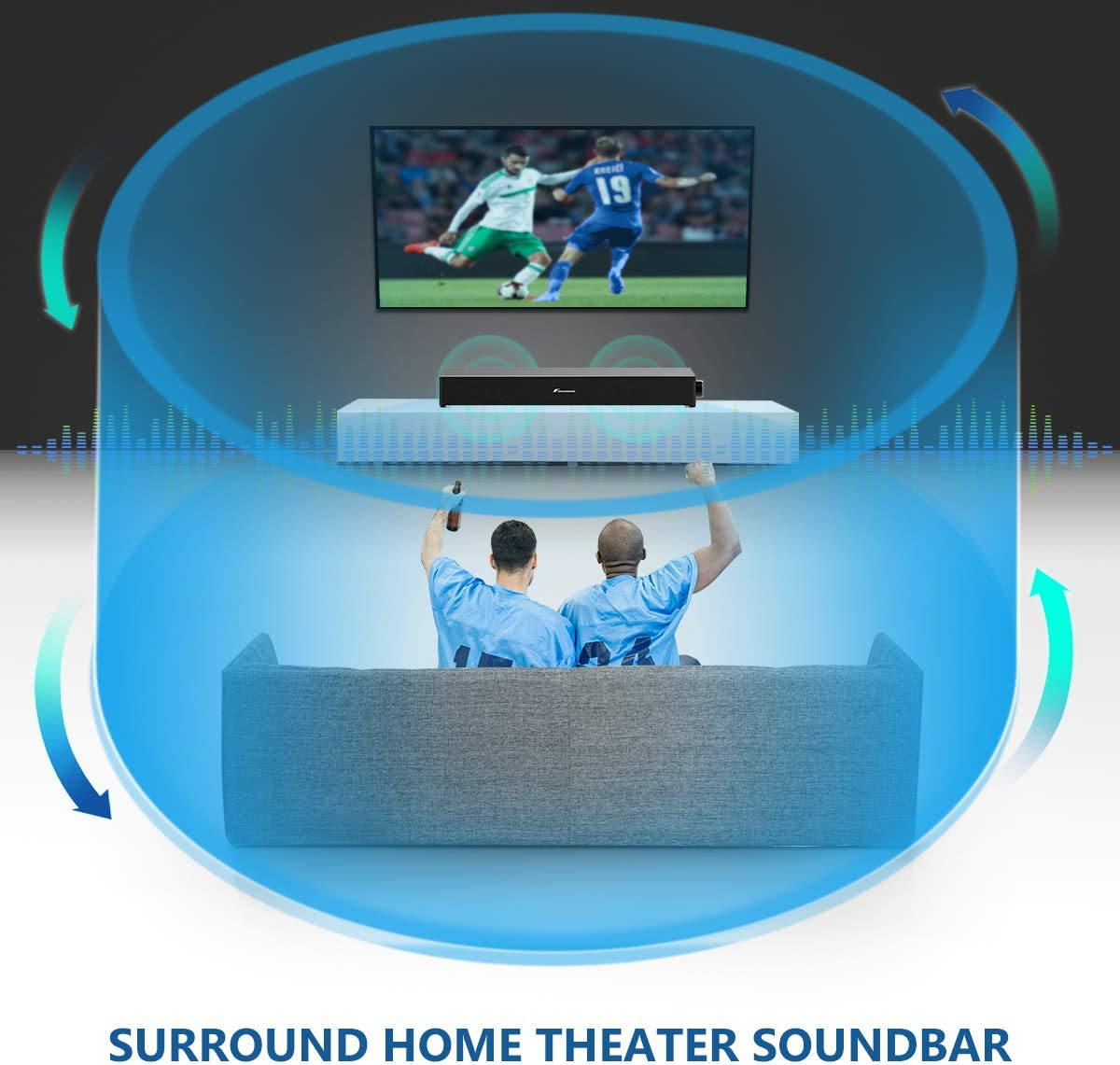 3D Surround Sound Bar for TV Portable Soundbar Home Theater Soundbar Wireless & Wired Bluetooth Sound Bars with Remote Control