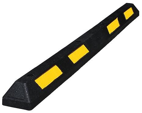 Tope de ruedas para aparcamiento 1800x150x100mm de caucho negro con de bandas amarillas reflectoras, para