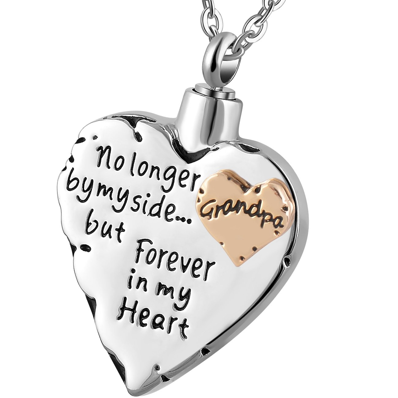 Meice Memorial Necklace for mom,dad,pet,no Longer by My Side Forever in My Heart Cremation Pendant Jewelry B074NVYLSM_US