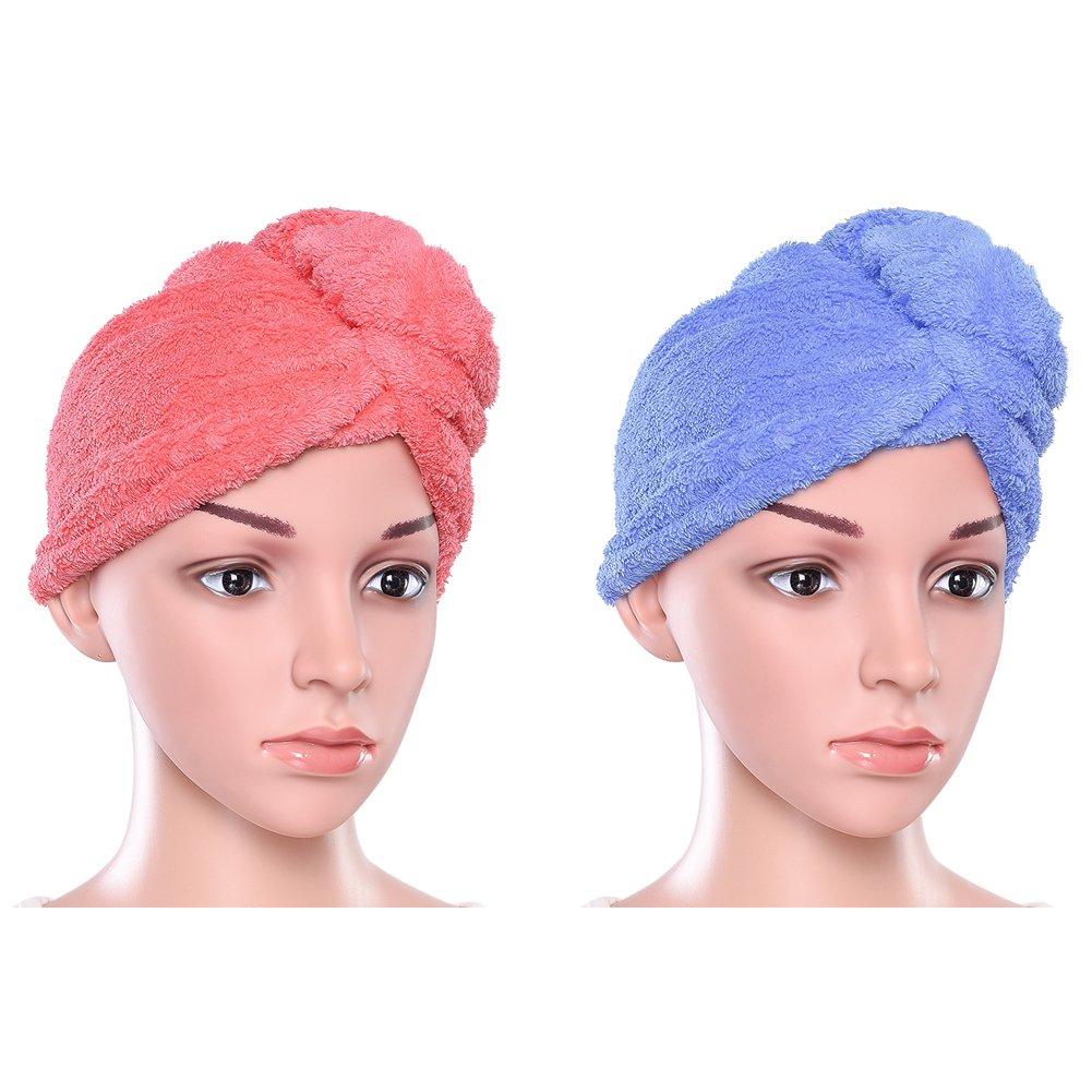 Turbante Asciugamano Twist Avvolgere Capelli veloce asciugatura assorbente in microfibra Protezione dei capelli asciutti per vasca da bagno, Spa, trucco 23.4 * 9.8inch (2 pezzi) Pretty See