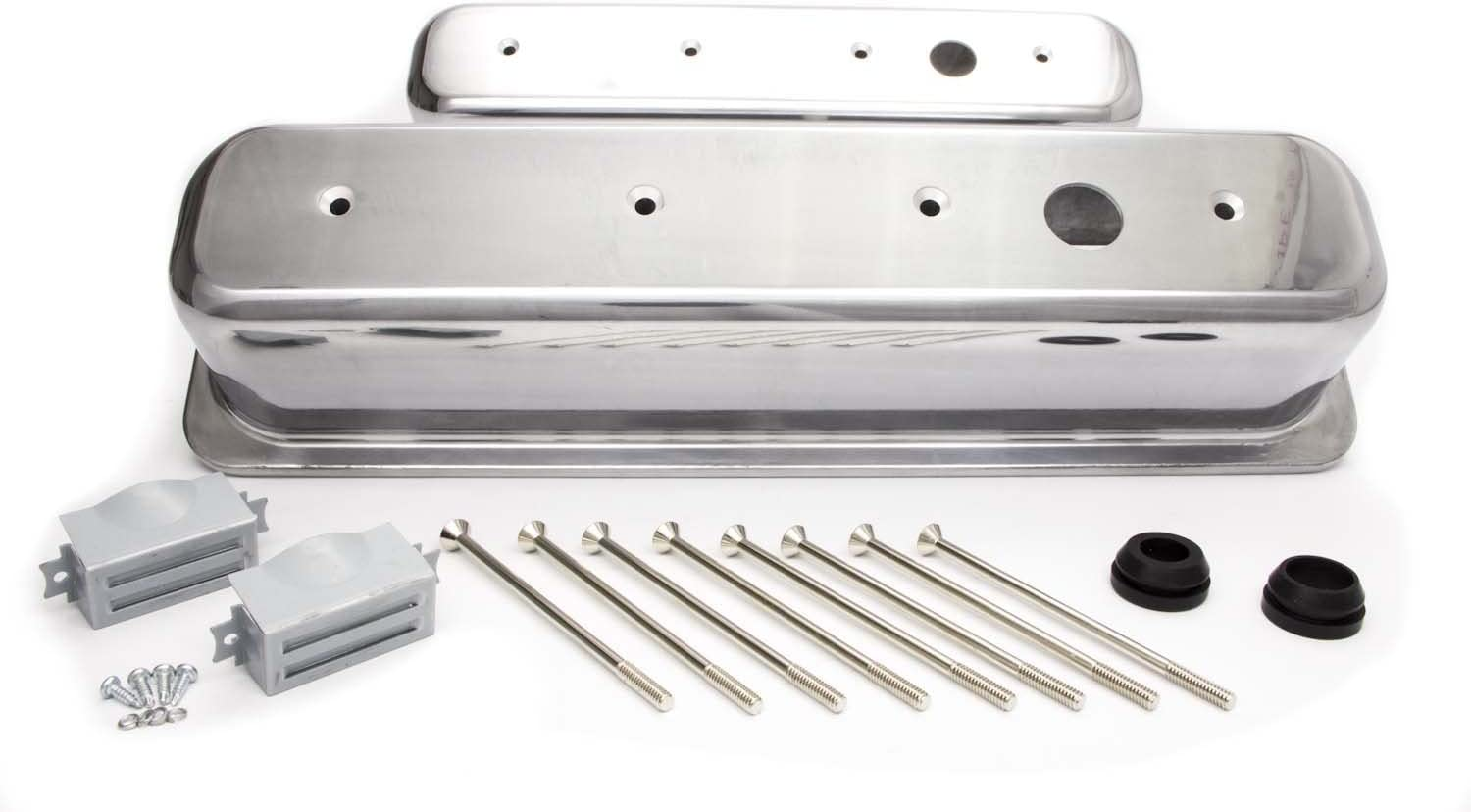 Racing Power Company R6196 Short Finned Polished Aluminum Center Bolt Valve Cover for Small Block Chevy