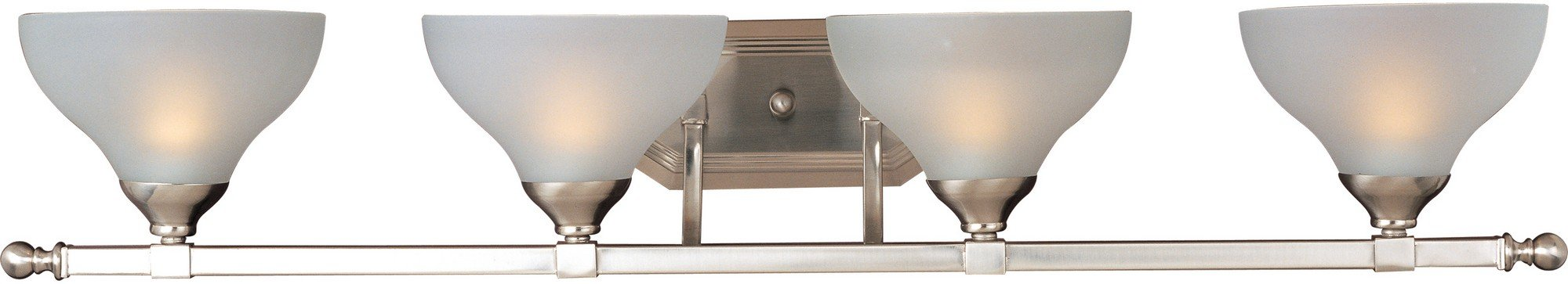 Maxim 21274FTSN Contour 4-Light Bath Vanity, Satin Nickel Finish, Frosted Glass, MB Incandescent Incandescent Bulb , 60W Max., Dry Safety Rating, Standard Dimmable, Opal Acrylic Shade Material, Rated Lumens