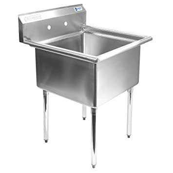 Great Gridmann 1 Compartment Stainless Steel Commercial Kitchen Prep U0026 Utility  Sink   30 In.