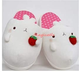 Molang Rabbit Plush Slipper Indoor Shoes Pink- US 5~7