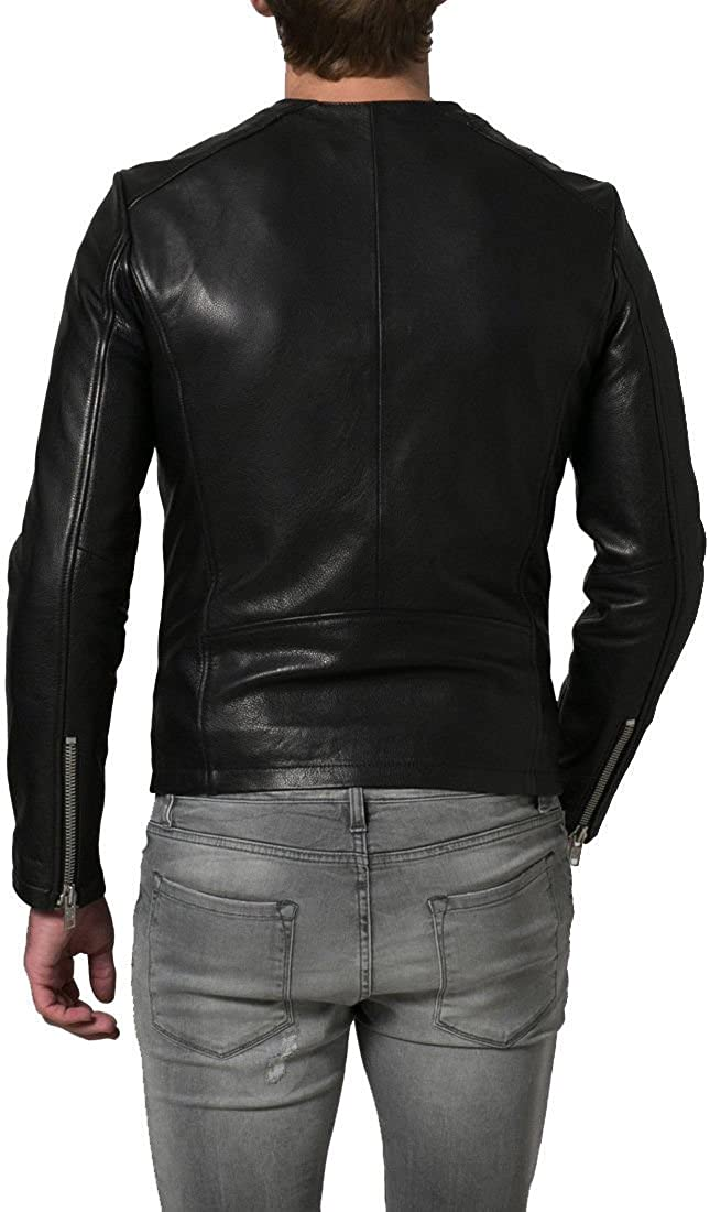 Kingdom Leather New Men Motorcycle Black Lambskin Leather Jacket Coat Size XS S M L XL X039