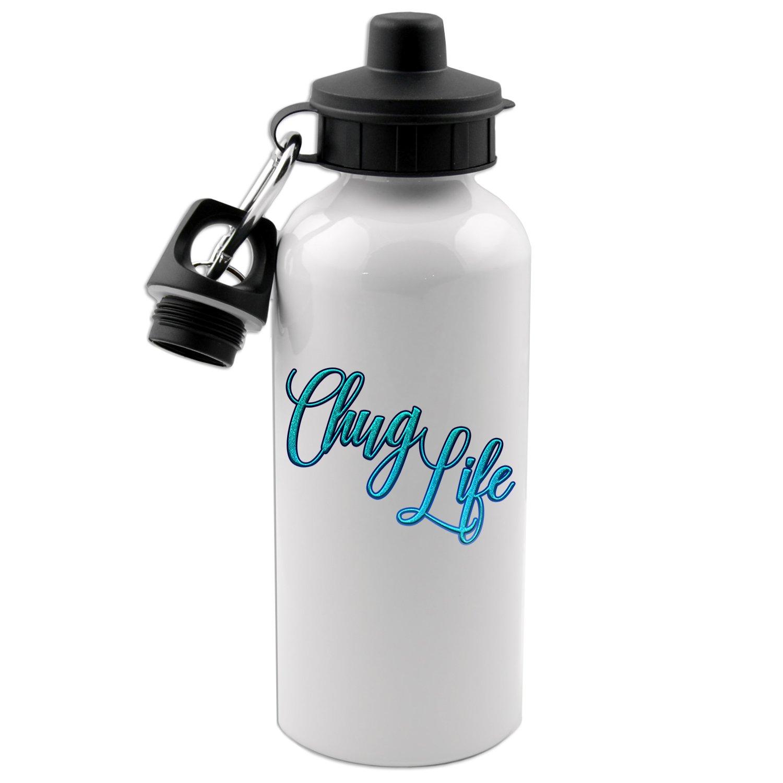 Chug Life 20 Oz White Aluminum Water Bottle