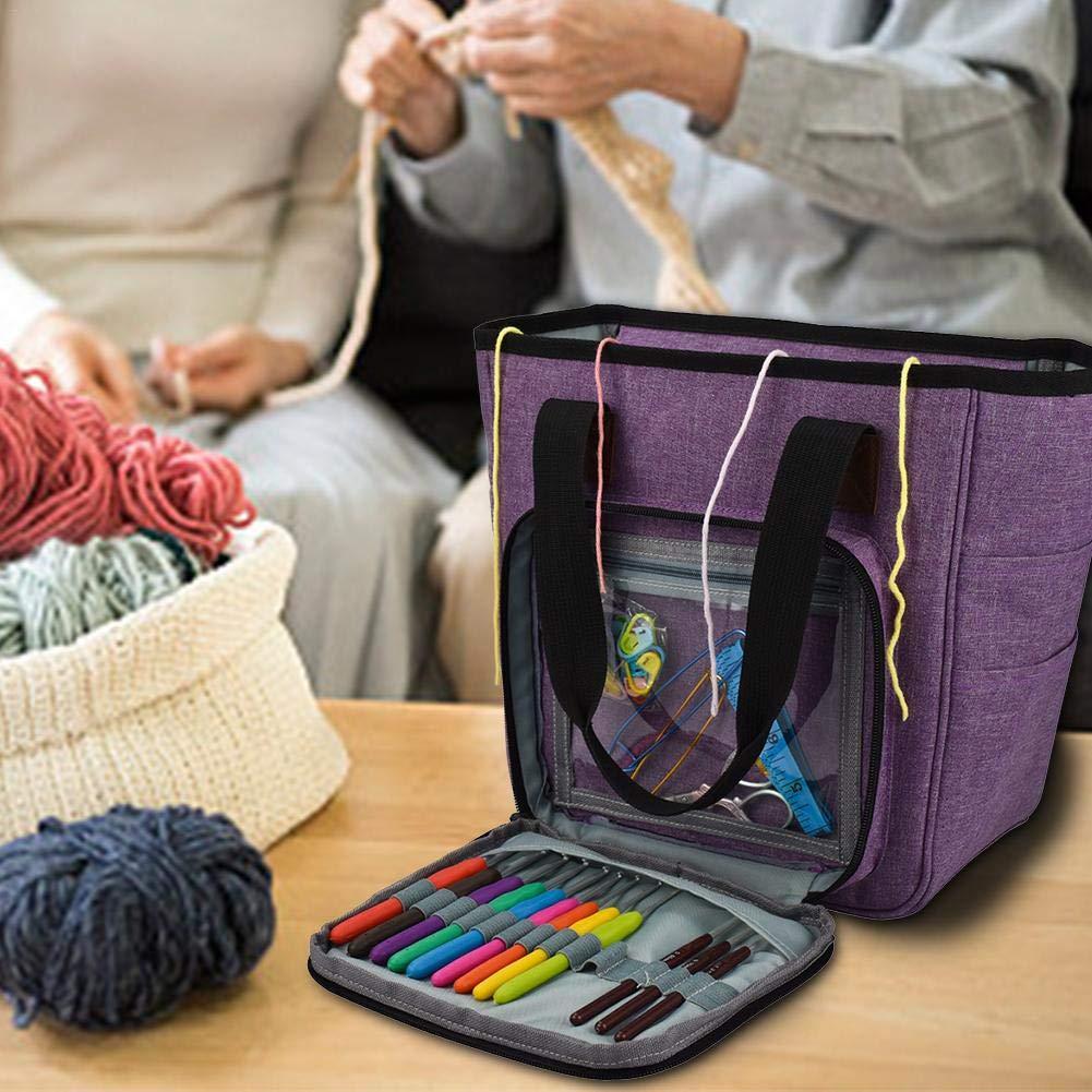 Portable Knitting Yarn Storage Bag With Multiple Pockets Knitting Bag Knitting Tote Organizer Kitabetty Yarn Storage Bag for Needles Crochets Threads Storage