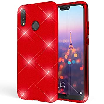 Coovertify Funda Purpurina Brillante Red Rose Huawei P20 Lite, Carcasa roja Resistente de Gel Silicona con Brillo Rojo Rosa para Huawei P20 Lite