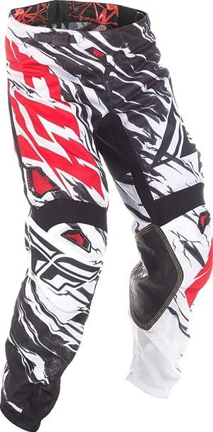 Fly Racing Motocross Mesh Hose Schwarz Weiß Rot Fahrerhose Bekleidung