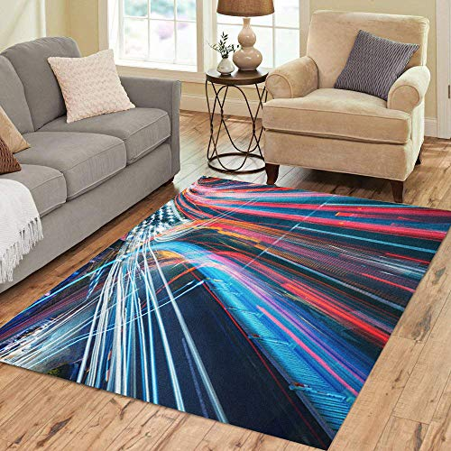 (Semtomn Area Rug 2' X 3' Blur The Car Light Trails in City Night Traffic Road Home Decor Collection Floor Rugs Carpet for Living Room Bedroom Dining Room)
