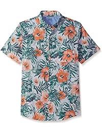 Men's Saltwater Dockside Chambray Print Short Sleeve Shirt