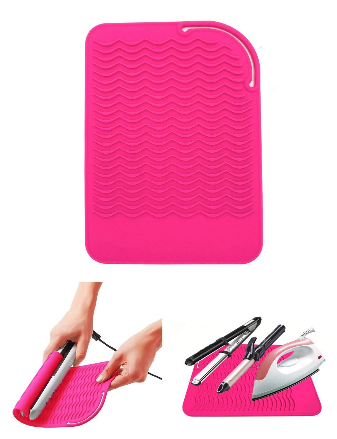 Curling Iron Holder, Heat Resistant Silicone Mat, Portable, Fast Chilling, Food Grade Material for Curling Iron, Hair Straightener, Curling Wand Storage, Pink
