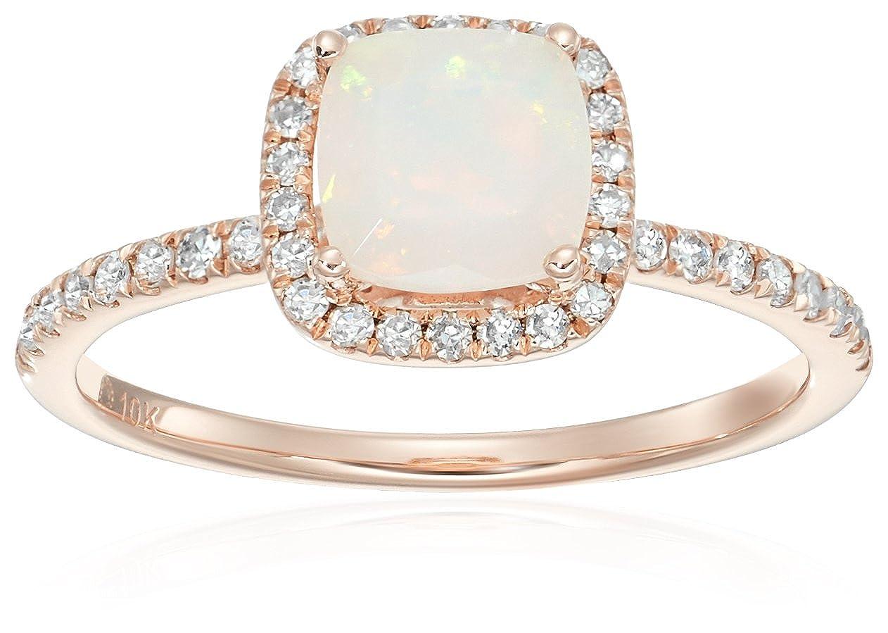 cd53b661b9886 10k Rose Gold Ethiopian Opal and Diamond Cushion Halo Engagement ...
