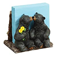 Kissing Black Bears Napkin Holder - Cabin Kitchen Decor