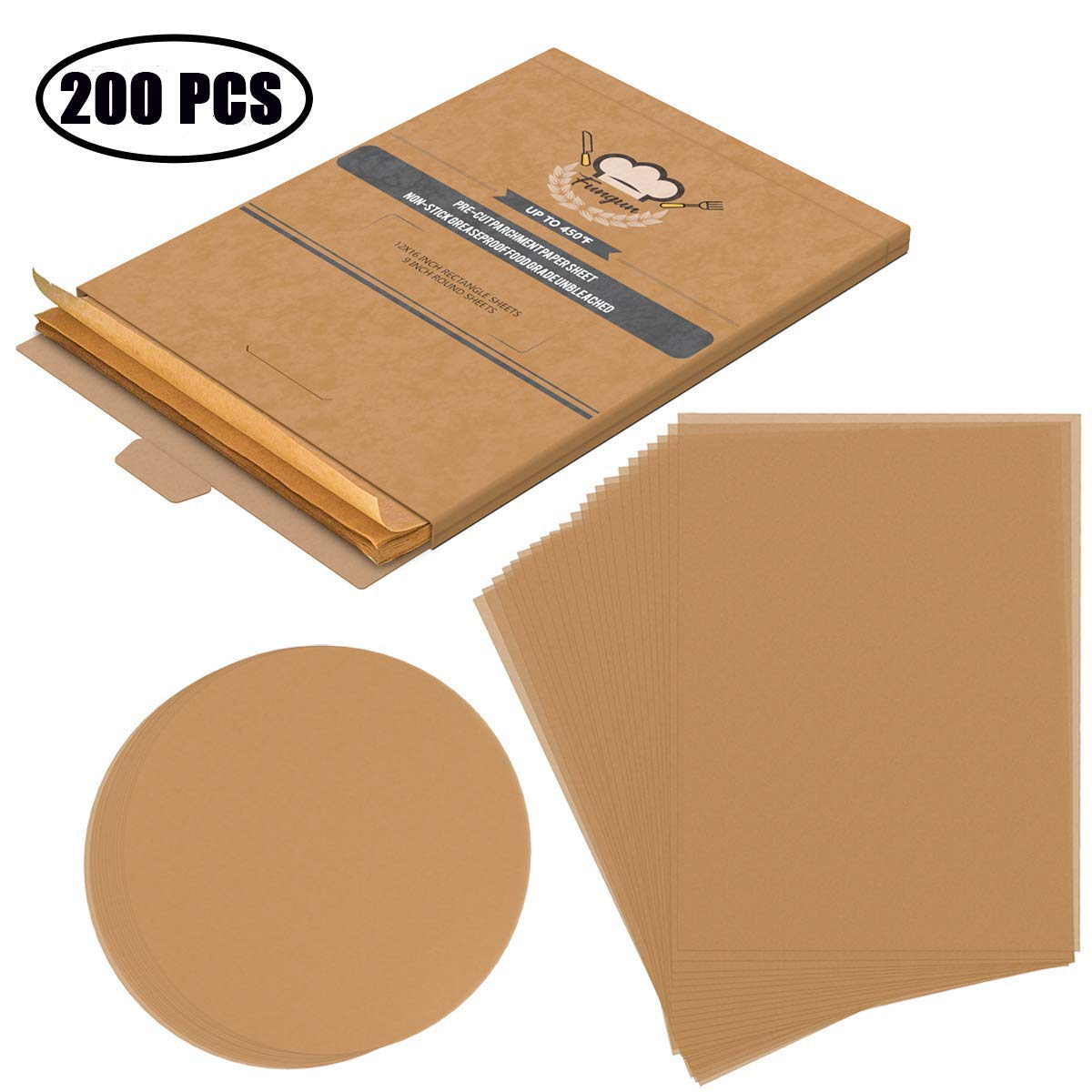 Unbleached Parchment Paper, Fungun Non-Stick Precut Baking Sheets for Grilling Air Fryer Steaming Bread Cake Cookie and More (100 PCS Round and 100 PCS Rectan
