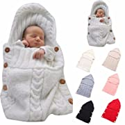 Newborn Baby Wrap Swaddle Blanket, Kids Wool Knit Swaddle Kids Sleeping Bag Stroller Wrap Sleep Sacks (Beige)