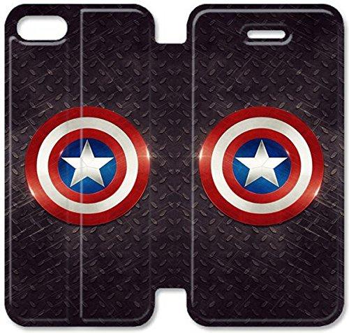 Flip étui en cuir PU Stand pour Coque iPhone 5 5S, bricolage 5 5S étui de téléphone cellulaire Captain America Logo Leather Coque Case V1W1EF Coque iPhone Pour mecs