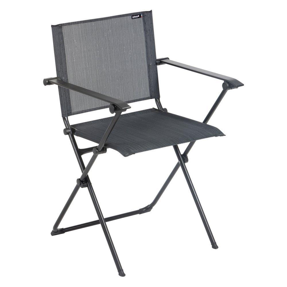 Lafuma Anytime Folding Armchair - Black Steel Frame with Obsidian Batyline Duo Fabric
