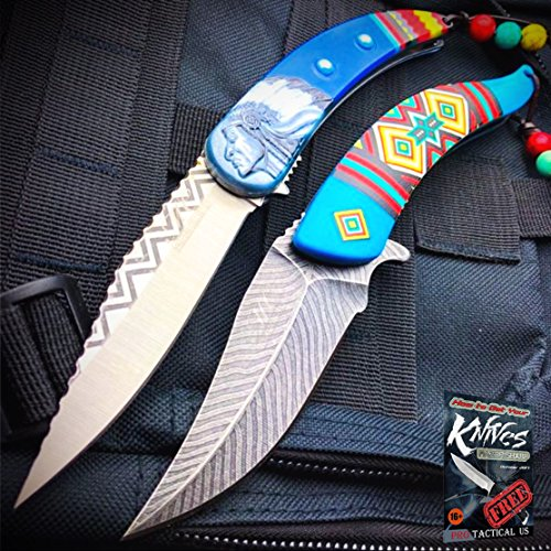 2 PC Native American Indian Spring Assisted Open Folding Pocket Knife BLUE SET + free eBook by ProTactical'US