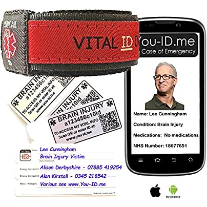 Brain Injury Medical Alert Bracelet Emergency Awareness Identity Wristband Lightweight Fully Waterproof Works with Any Phone Tablet and Can Alert Your Contacts SMS Red Estimated Price -