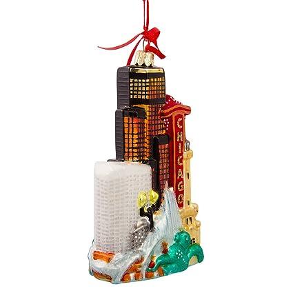 kurt adler chicago glass cityscape christmas ornament - Chicago Christmas Ornament
