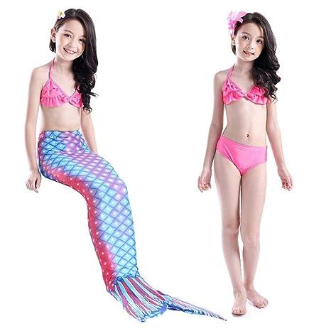 MARYYUN Traje de baño de Cola de Sirena para niñas con ...