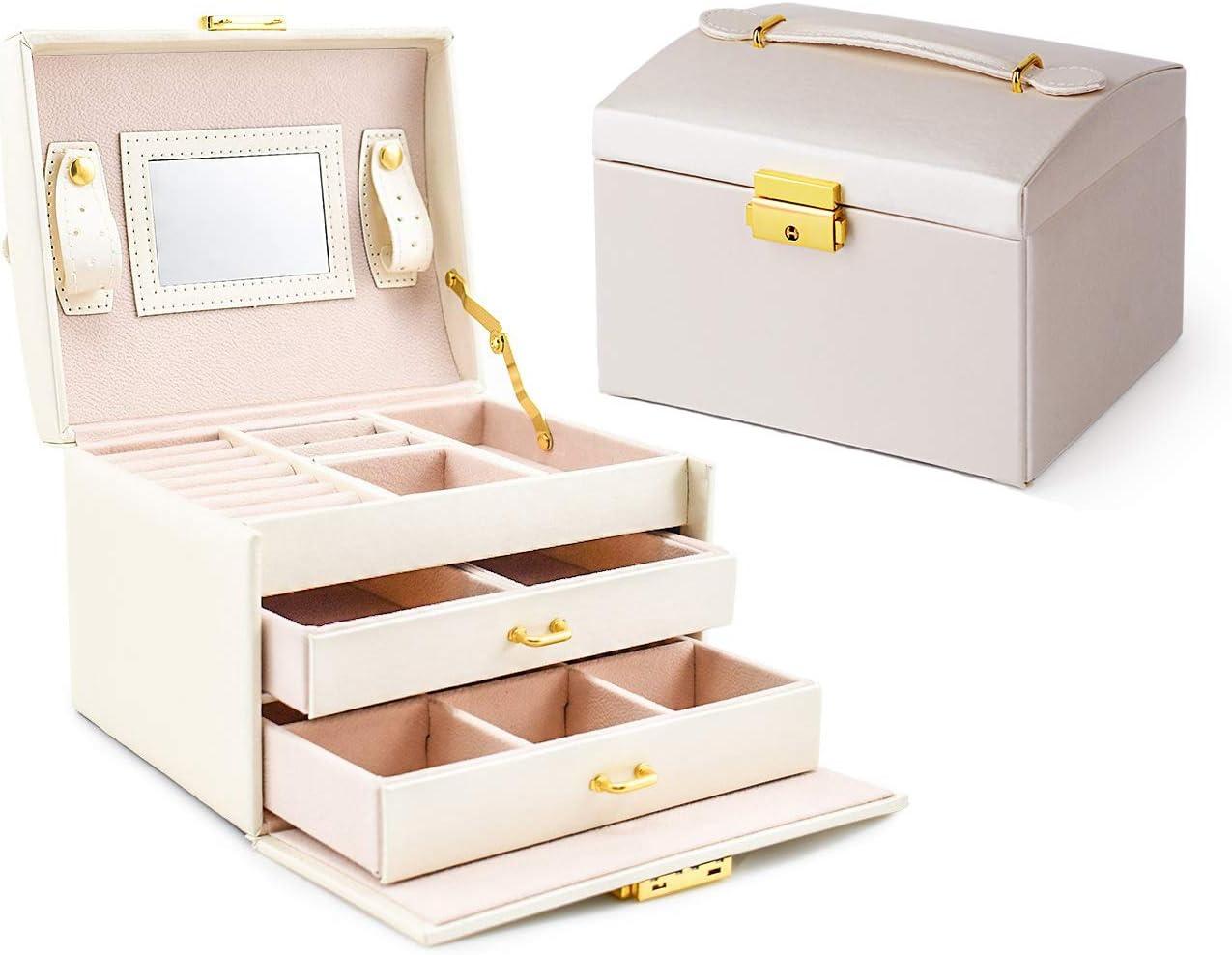 Asvert Caja Joyero Organizador de Joyerías 3 Niveles Cuero con Espejo para Pendientes, Pulseras, Anillos, Almacenamiento y Expositor 17.5x14x13cm, Blanco Perlado