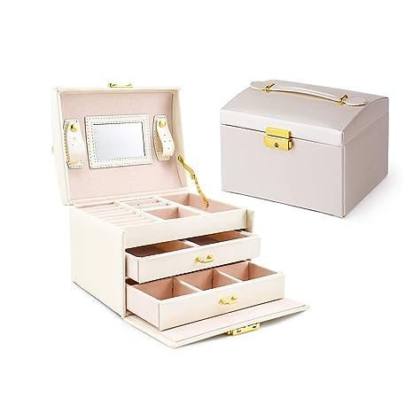 Asvert Caja Joyero Organizador de Joyerías 3 Niveles Cuero con Espejo para Pendientes, Pulseras, Anillos, Almacenamiento y Expositor 17.5x14x13cm, ...