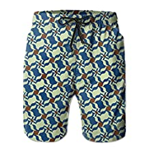 Vvw4 Blue Floral Pattern Casual Water Beach Board Shorts Bathing Swimming Trunks With Poket For Men