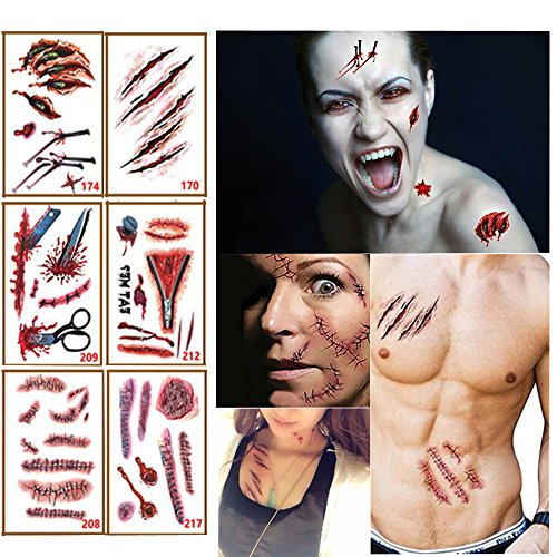 JAYSLE 6PCS Halloween Temporary Tattoo Bleeding Wound Scar Stickers Cosplay Costumes Party