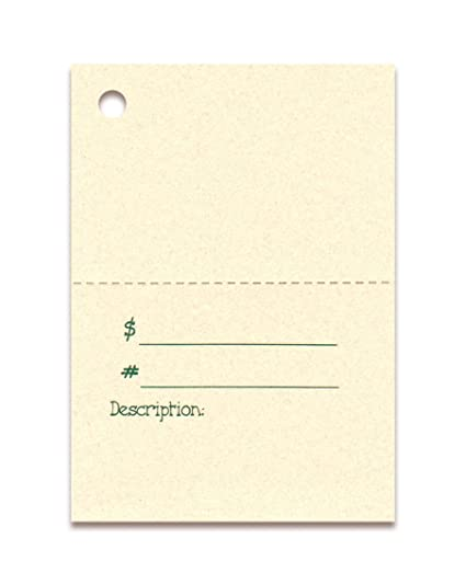 100 Perforated PRICE Tags 2 PART BLANK TOP 100 Cut