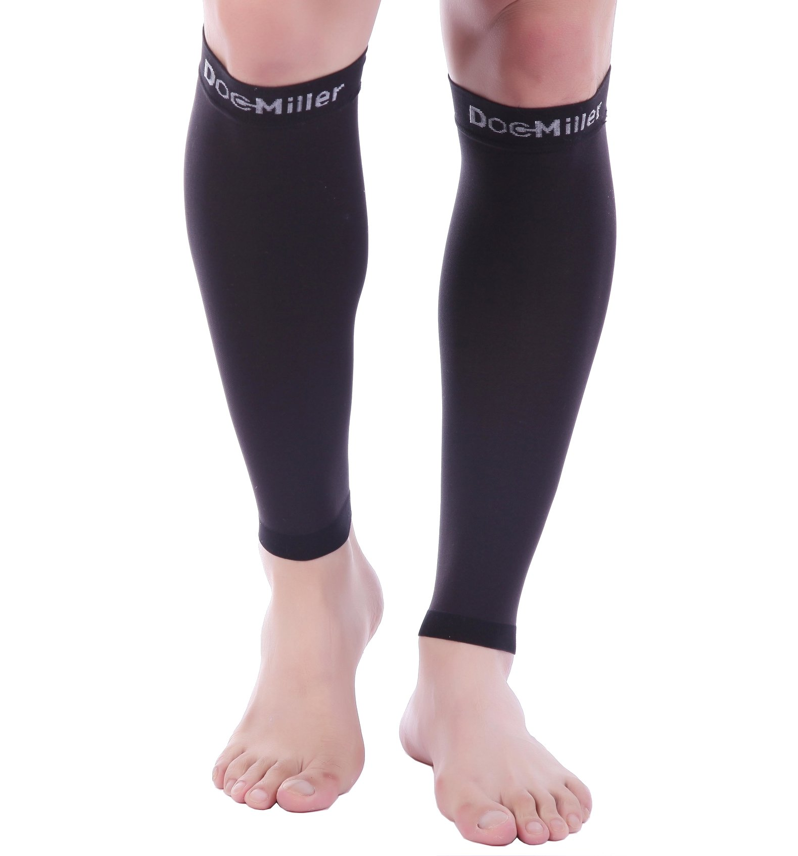 Doc Miller Premium Calf Compression Sleeve 1 Pair 20-30mmHg Strong Calf Support Graduated Pressure for Sports Running Muscle Recovery Shin Splints Varicose Veins (Black Wide Ankle, 5X-Large) by Doc Miller