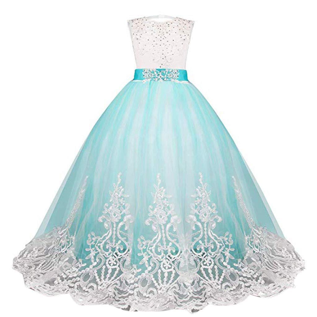Malloom Spitze M/ädchen Prinzessin Brautjungfer Pageant Tutu T/üll Kleid Party Brautkleid Prinzessinkleid Abendkleid Karneval Kost/üm
