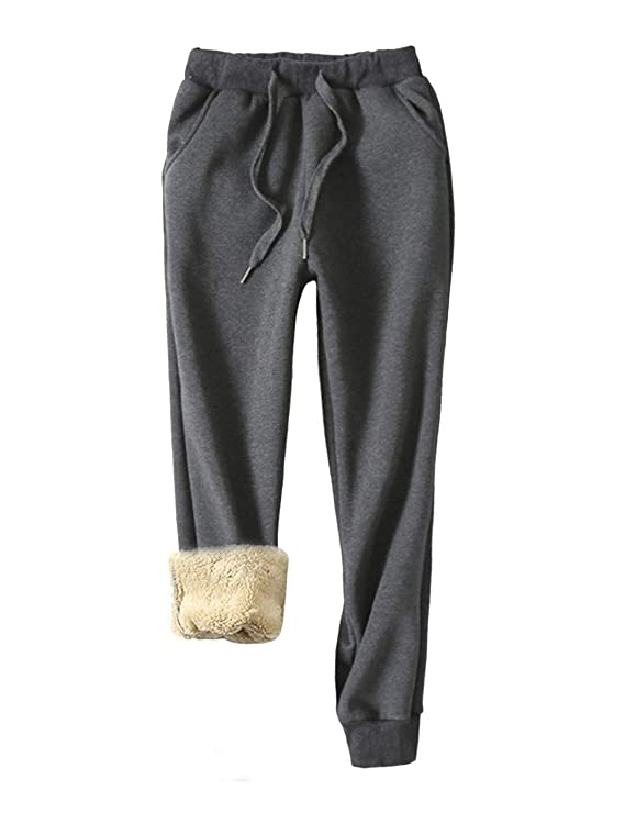 Yeokou Women's Warm Sherpa Lined Athletic Sweatpants Jogger Fleece Pants (Large, Grey) best women's sweatpants