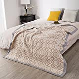 Silkmood Adult Baby Blanket 3 Layer A Level 100% Cotton Geometric Style Multifunctional Throw Adult Size Muslin Quilt Baby Skin Touching Very Easy Care Six Pattern Two Size (Light Camel, Twin)
