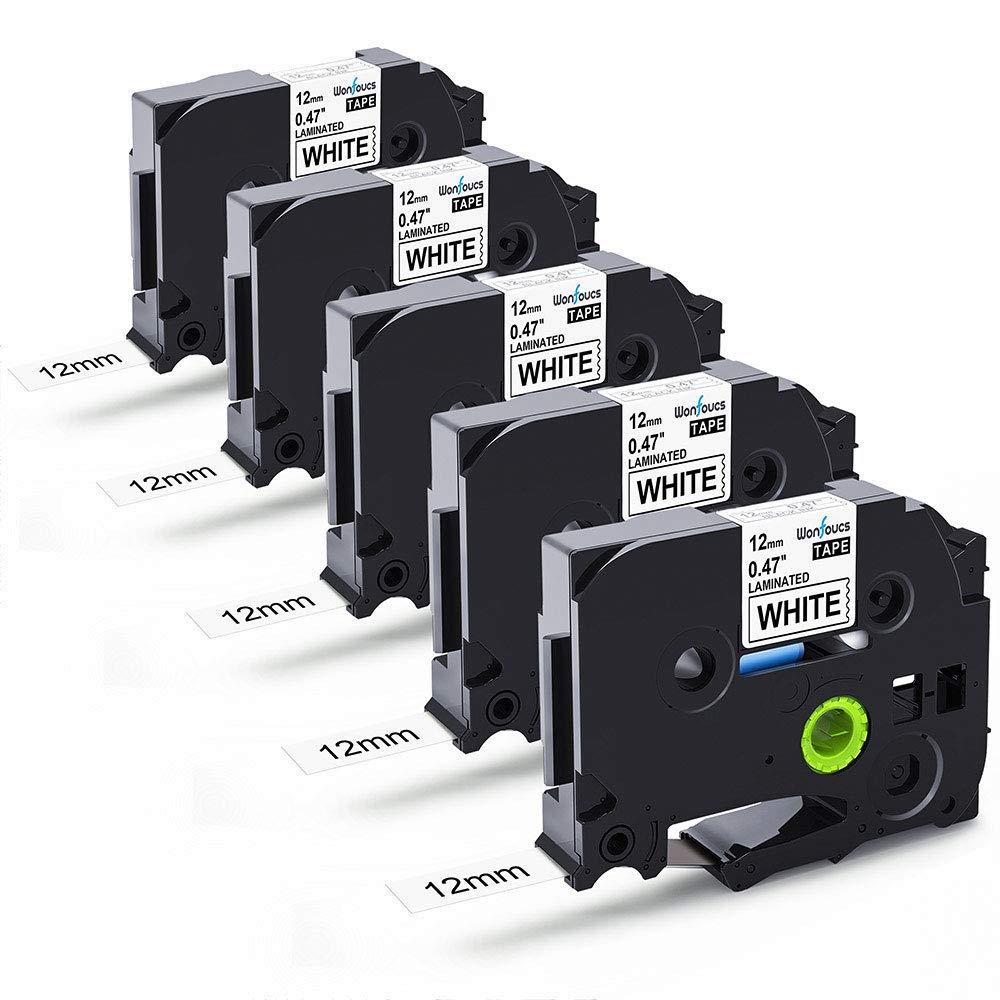 6 Pack TZe-231 Tape 12mm x 8m Nastri Etichette Laminato Compatibile per Brother P-Touch 1000 1010 H100LB, Nero su Bianco Wonfoucs