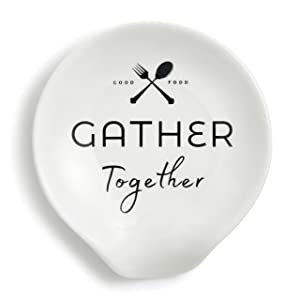Gather Together Black and White 5 x 4 Ceramic Stoneware Spoon Rest