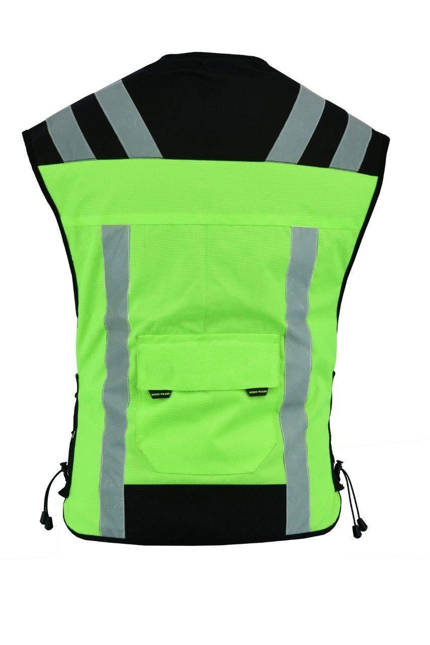 BIKER WEARS LIMITED Gilet de s/écurit/é de moto r/ésistant /à leau haute visibilit/é 2 poches jaunes