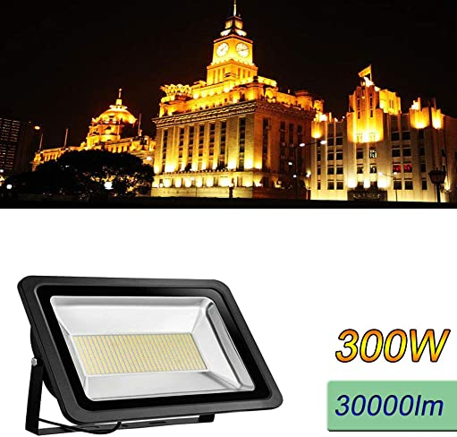 WZTO 300W LED Flood Light,24000lm Outdoor Super Bright Security Lights IP65 Waterproof Work Light Floodlight Landscape Wall Lights for Yard Basketball Court Garden Playground 3000K Warm White