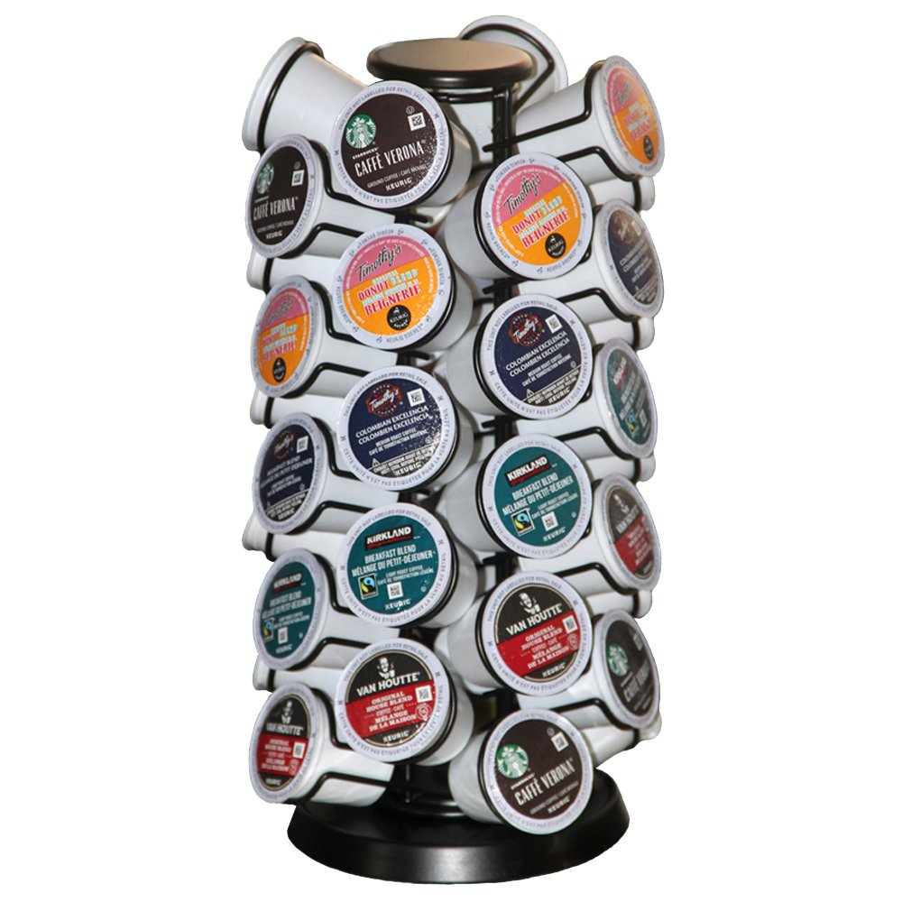 K-40 Cup Carousel,Coffee Pod Holder Carousel Holds 40 Single Cup Coffee Pods in Matte Black (Capacity of 40 Pods) by BLACKSMITH FAMILY