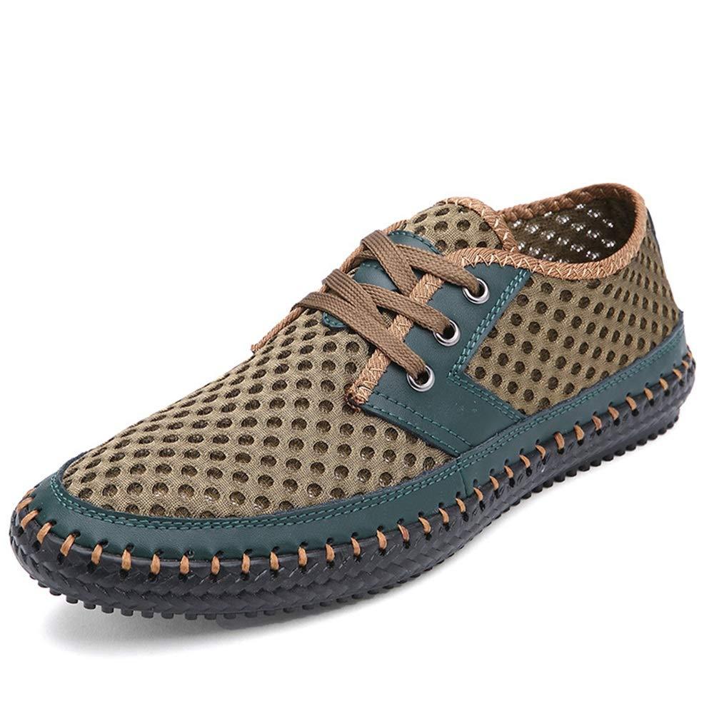 ZHRUI Große Breathable Sich Schuhe für Männer schnüren Sich Breathable heraus höhlen echtes Leder bequemes Derby aus (Farbe : Grün, Größe : EU 47) Grün 6022a8