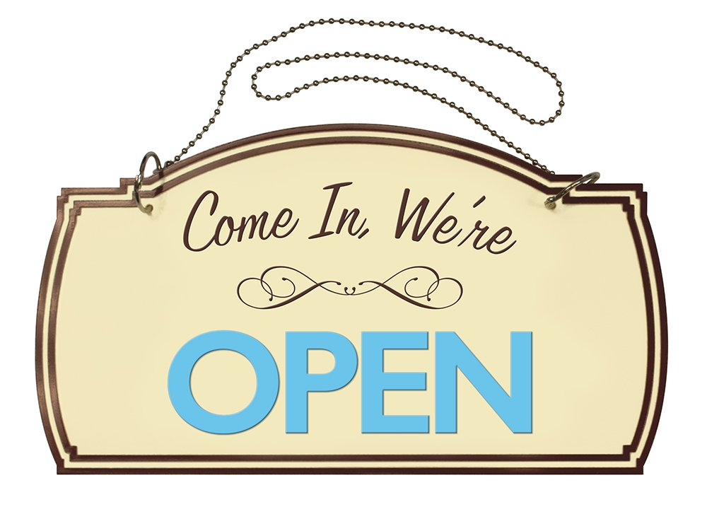 Two-Sided Open/Closed Boutique Sign, Hanging Hardware Included, 12 x 7 inches (098380)