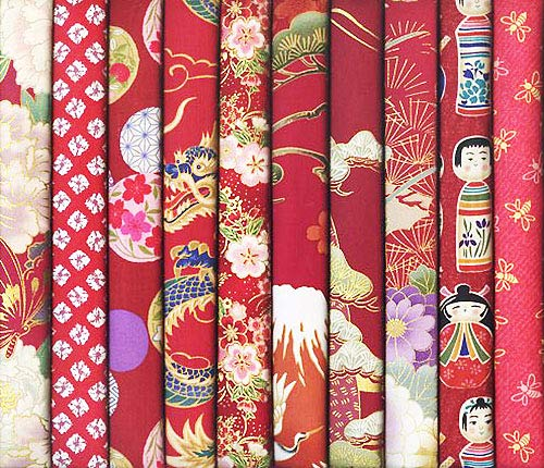 10 Red Asian Japanese Fat Quarter Quilt Fabric Bundle #18 (2 1/2 Yards - Quilt Asian Fabric