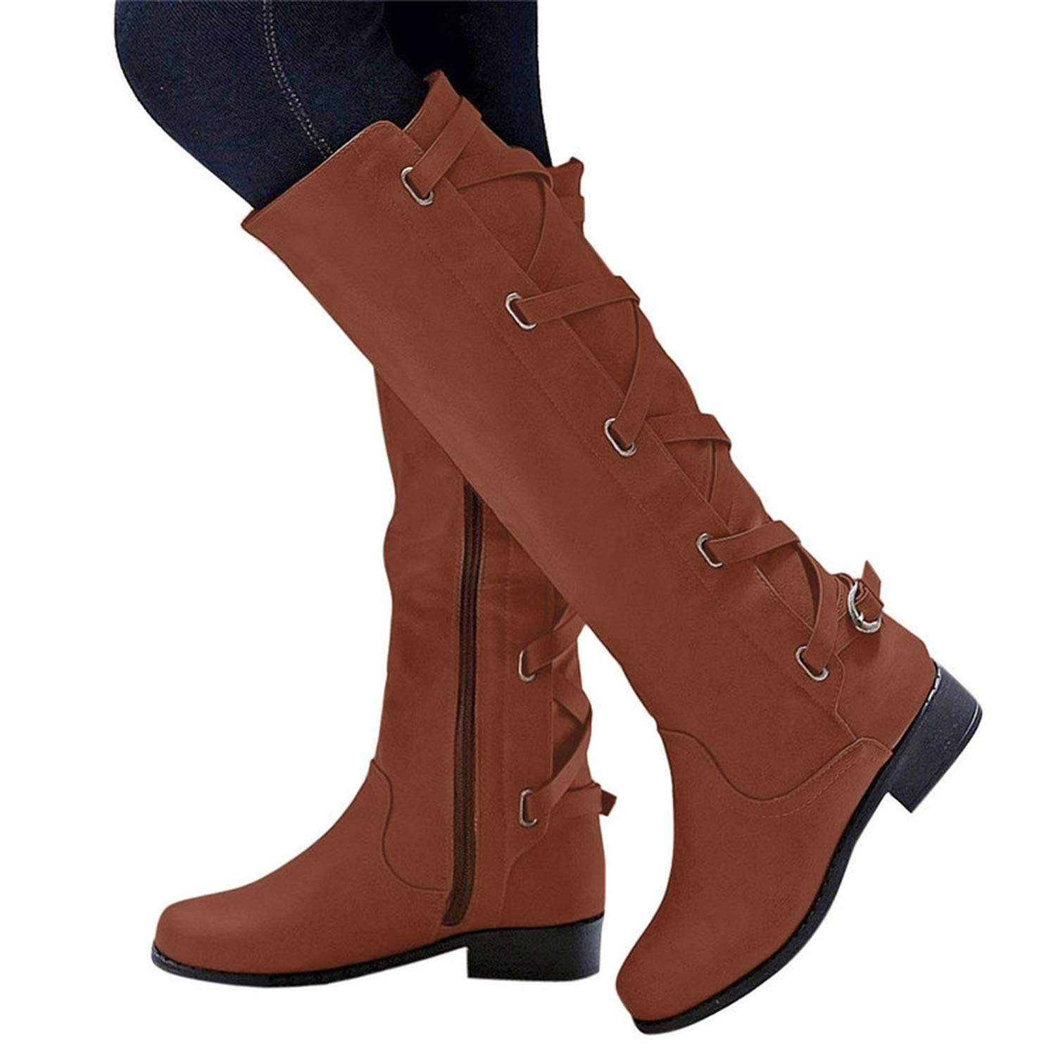 Amazon.com | Botines Shoes Woman Buckle Roman Riding Knee High Cowboy Boots Women Casual Boots Botas, Khaki, 8, C | Knee-High