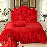 Lotus Karen Luxury Jacqurad Lace Ruffles Korean Princess For Girls Romantic 4PC 100%Cotton Wedding Bed Sheet Set,1Duvet Cover,1Bedskirt,2Pillowcases King Queen Full Twin Size